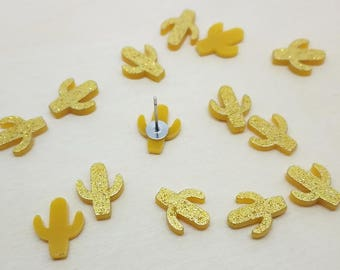 12mm Gold Glitter Cactus Laser Cut Acrylic Cabochons - 10 Pcs