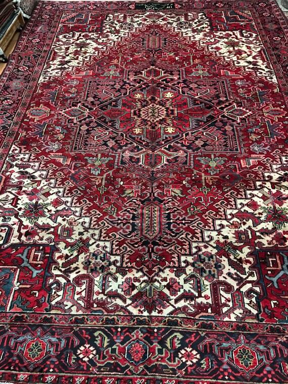 "9'9"" x 13'3"" Persian Heriz Oriental Rug - 1950s - Hand Made - 100% Wool"