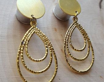 Gold Triple Layer Dangle Plug Gauges 0g, 00g, 7/16  1/2, 9/16, 5/8, 3/4