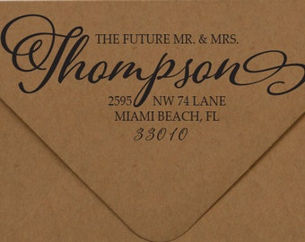 Future Mr. & Mrs. Stamp, Elegant Calligraphy Wedding Stamp, Address Rubber Stamp, Address Self-Inking Stamp