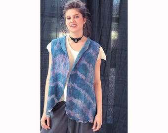 Nuno felt, nuno felted vest, summer nuno vest, blue, pink, wool and silk, boho, nuno felted clothing, shibori dyeing, large, wearable felt