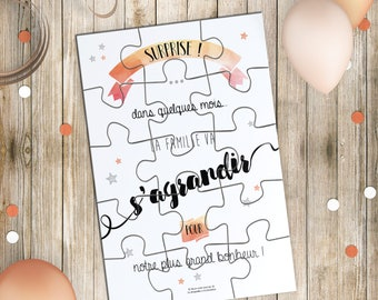 Birth announcement - Card Puzzle and surprise - pouch original baby announcement