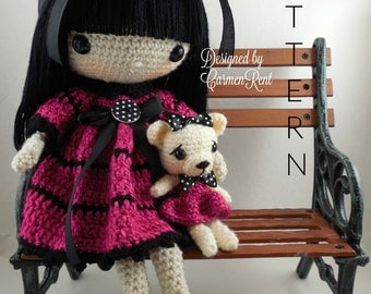 "Leila 17"" and her Teddy Bear-Amigurumi Doll Crochet Pattern PDF"