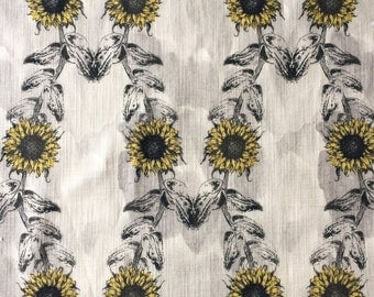 Sunflowers Cotton Linen Fabric, sophisticated floral print, colourful textile ideal for cushion, curtains, watercolour background grey
