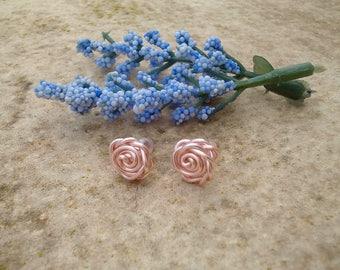 Rose Gold Earrings, Rose Earrings, Tarnish Resistant Earrings, Wire Wrapped Rose Earrings