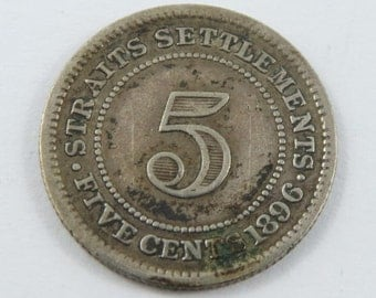 Straits Settlements 1896 H Silver 5 Cents Coin.