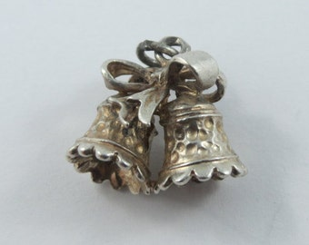 Double Holidays Bells With Bow Sterling Silver Charm or Pendant.