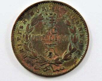 British North Borneo 1888 H One Cent Coin.