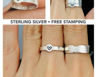 Matching Couple Rings, Promise Rings, Couples Ring, His and Her Promise Rings, For Couples, Personalized Couples Rings Set, Gifts For Him