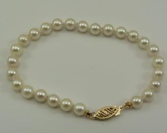 Akoya Round Pearl Bracelet 14k Yellow Gold Clasp