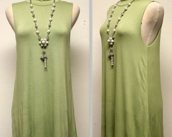 Sleeveless Tunic Top, Long Tunic, Adorable and Comfortable,  Light Olive Color. S, M, L