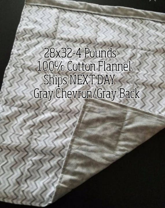 Weighted Blanket, 4 Pound, 28x32, READY TO SHIP.  One Business Day Turn Around.  Gray Chevron, Gray Tie Dye Backing