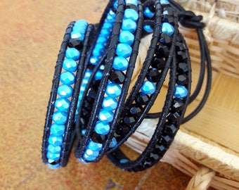 Leather Bracelet Bohemian, Chan Luu Style, black, blue, Crystal, gift ideas for her