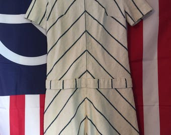 Hand Made Vintage Blue and White Striped Muslin Dress