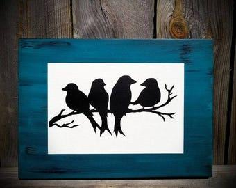 Bird Sign - Bird Decor - Birds On A Branch Sign - Bird Wood Sign - Wood Bird Sign - Wooden Bird Sign - Birds Sign - Bird Decor