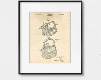 Lake House Decor, Fishing Creel Patent Illustration, Farmhouse Decor, Rustic Wall Art