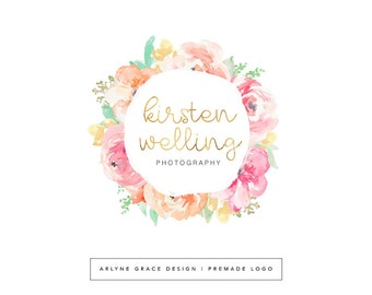 Premade Logo - Watercolor Logo - Logo Design - Photography Logo - Floral Logo - Blog Logo - Gold Logo - Flowers Logo - Branding Kit Package