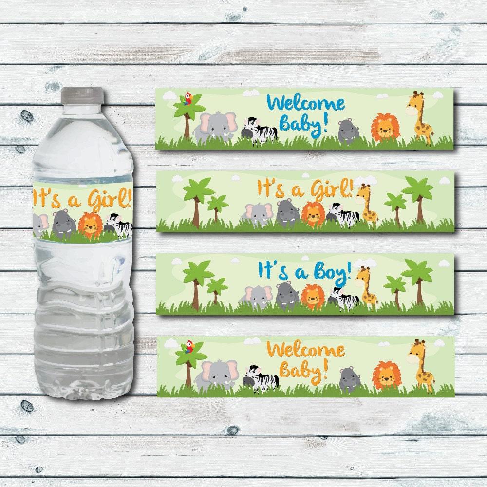 Safari Water Bottle Labels Printable Jungle Baby Shower Water