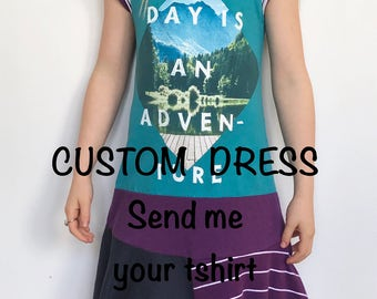 CUSTOM upcycled dress, custom dress, upcycled dress, custom tshirt dress, custom girls dress, custom girls tshirt dress, upcycled girls dres