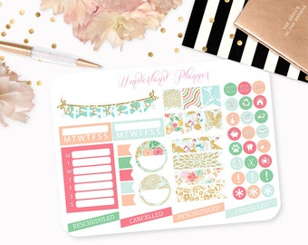 Summer Blossom - Floral Planner Stickers // Icons, Banners + Flags // Perfect for Erin Condren Vertical Life Planner