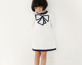 Girl dress white organic cotton long sleeve