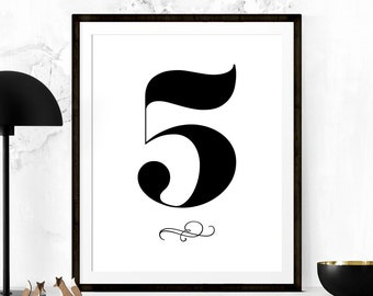 Number 5 print | Etsy