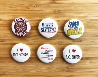 Saved by the Bell Pinback Button Set, Zack Morris, Bayside High Button Pin, Pop Culture Magnet, 90s Gifts, Funny Magnet, AC Slater