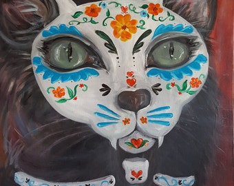 """Cat Lovers """" Gato Muerto """"Day of the Dead, dia de los muertos  animal lovers art gift note cards or matted print of original oil painting"""