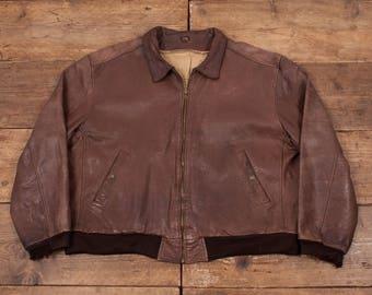 "Mens Vintage Levis Leather Flight Bomber Jacket Levi Strauss Brown 48"" XL R5454"