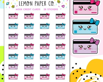 M008 Credit Cards // Kawaii Planner Stickers