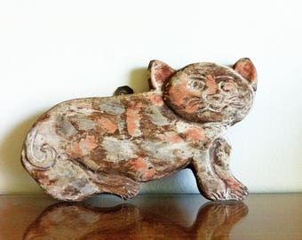 Vintage Primitive Hand Painted and Hand Carved Wood Cat, Primitive Folk Art, Cat Folk Art, Wood Cat, Vintage Wall Decor, Nursery Decor