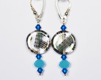 Drop earring, 925 sterling silver, Zwarovski and Crystal beads. LBC170416A