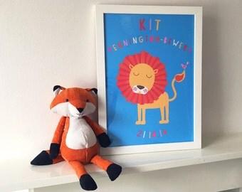 Personalised bespoke Lion kids art print