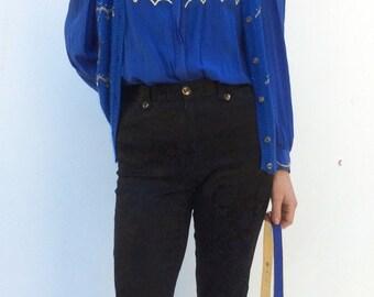 Franck Olivier Glitter Petrol Blue Silk Shirt and Angora Waistcoat set S/M