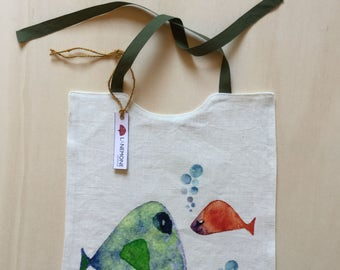 Pure linen bib with fish. Original watercolor digitally printed on linen. Bib. Linen