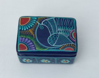 Folk Art Bird Terra Cotta Box, Mexican Terra Cotta Painted Box