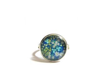 BLUE Flower Girl RING - floral Flower Girl ring - tiny ring - Girls Jewelry - Flower Girl Gift - small ring - cute ring