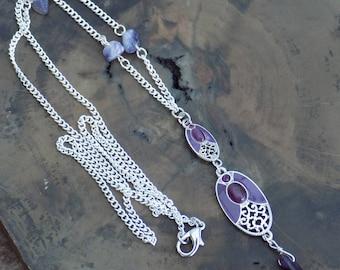 Amethyst Necklace, Long Necklace, Boho Necklace, Crystal Healing, Y Necklace, Dangle Necklace, Crystal Healing, Vintage Connectors.