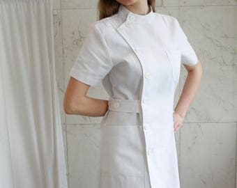 Nurse Uniform - Strict Nurse Uniform / Pin-Up Nurse / Vintage Nurse / ABDL Nurse / Nurse Dress with Short Sleeves + Nurse Cap