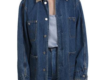 Vintage 1990s Polo Ralph Lauren denim jacket - 90s cord collar tartan lined denim coat - Nineties dark denim lumberjack jean jacket