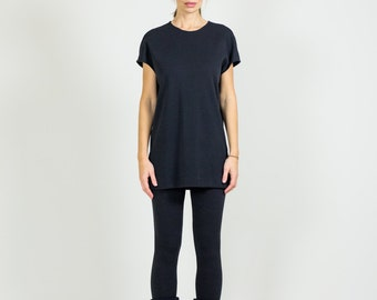 Black Wool Short Sleeve Top // Black Women's Tunic With Short Sleeves