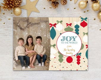Christmas Card, Photo Christmas Card, Joy to the World, Modern, Holiday Card, Retro, Photo Card, Merry Christmas, Xmas, Printable, Teal