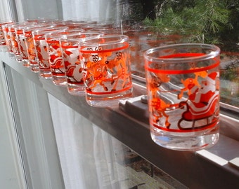 10 Christmas Votive Holders, Hallmark Glass Votive Candle Holders with Santa and Whacky Reindeer