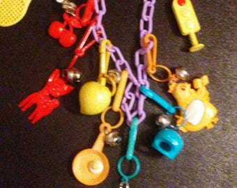 Vintage 1980s BELL CHARM Necklace with 10 Charms!!