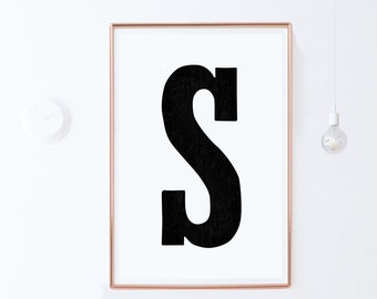 Wall Letter S-Printable Art-Typography Print-Instant Download Print-Vintage Typography Poster-Black and White Wall Art Print-24x36 poster