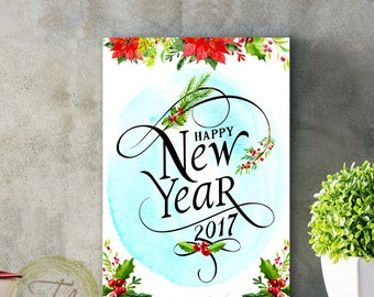 Happy New Year Card Printable new years card Happy new year printable card Holiday card print New year card 2017 DIY New Year Card