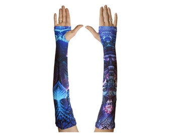 Arm sleeves 'Violet Foxy Lady'. 2 Trippy arm warmers. Psychedelic fingerless gloves. UV active arm sleeve, rave wear, festival clothing.