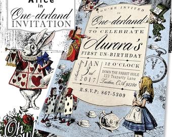 Alice In One-derland Theme Custom Color Birthday Party Invitation