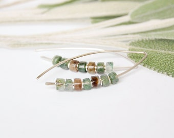 Sterling Silver Earrings, Modern Jade Earrings, Sterling Silver and Stone, Natural Earrings, Jade Sterling Threader, Recycled, Leaf Earrings