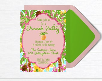 Dinner Party Invitation, Cocktail Party Invitation, Ladies Luncheon Invitation, Printable Party Invitation, Patio Party, Party Invite